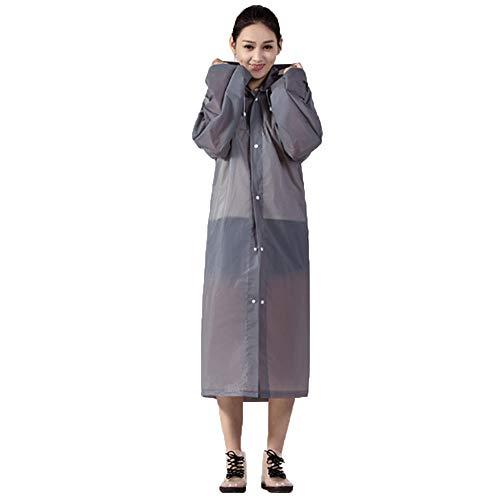 ANYIKE Herbruikbare EVA regenjas, verdikte doorzichtige regenjas met capuchon voor mannen, vrouwen, kamperen, wandelen, buiten