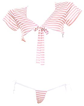 Women s Cute Sexy Japanese School Girl Low-Cut Top Cosplay Lingerie Set Sexy Top and Thong  Pink