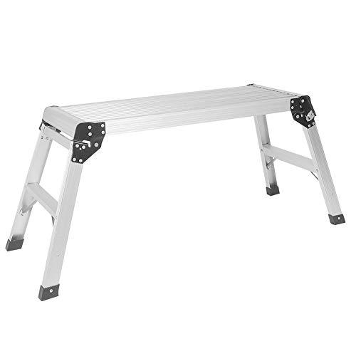 Werkplatform, platformtrap, vouwladder 118 x 41,5 x 50 cm, 2-traps kruk van aluminium, perfect voor het wassen van auto's, het reinigen van ramen