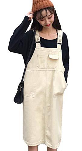 DeBangNiレディース デニムサロペットスカート スリム 韓国風 シンプル 綿 デニムスカート 体型カバー ワンピース チュニック 膝丈 可愛い 原宿風 アプリコット