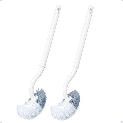 2pcs Escobilla De Inodoro De Upgrade con Mango Largo, Escobilla De Inodoro De Plástico con Cerdas Multifuncionales para Limpieza Profunda, Blanco