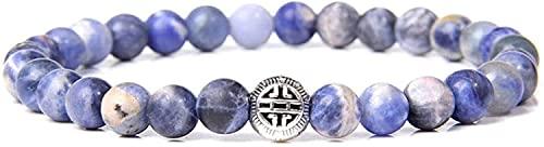 DJDEFK Pulsera de Feng Shui Tural Stone Bangle Bangle Lapis Lazuli Pulsera Elástica Protección Plata Lucky Charm Jewelry para Hombres Señoras