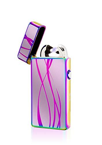 TESLA Lighter Tesla-Lighter T08 Lichtbogen Feuerzeug, Plasma Double-Arc, elektronisch wiederaufladbar, aufladbar mit Strom per USB, ohne Gas und Benzin, mit Ladekabel, in edler Geschenkverpackung, Linien Regenbogen Regenbogen