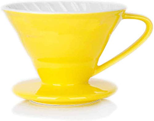 Coffee Filter Color V60 American Househol Hand-Made Drip Filter Ceramic Coffee Filter Paper Filter Cup Dripper for 2-4 People (yellow)