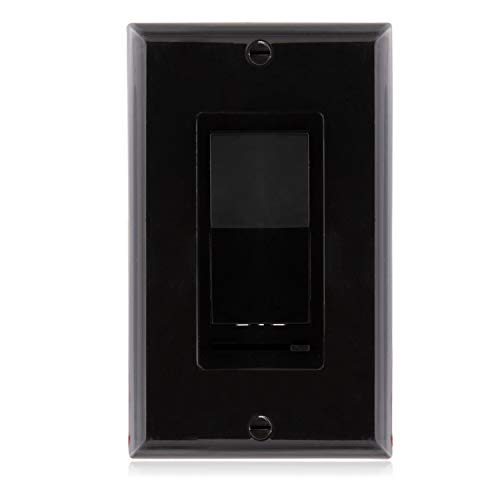 Maxxima 3-Way/Single Pole Decorative LED Slide Dimmer Rocker Switch Electrical light Switch 600 Watt max, LED Compatible, Wall Plate Included - Black