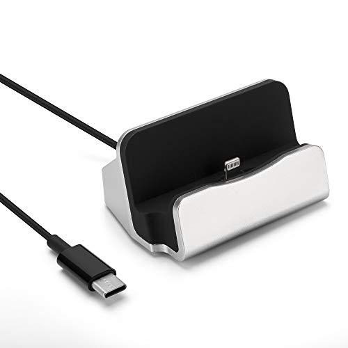 Excellentas Dockingstation Lightn Ladestation mit USB C Typ C PD Ladekabel Charger Ladegerät kompatibel mit iPhone 11 11 Pro Xs Max Xr Xs X 8 Plus 7 Plus 6s Plus 6 Plus 6 5s 5c SE in Silber