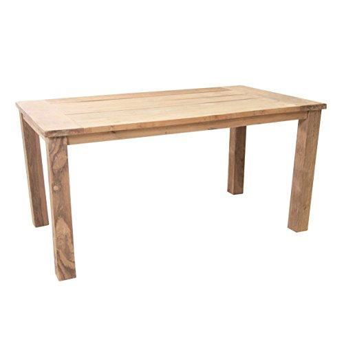 Ribelli Teaktisch Sobura Holztisch Gartentisch aus recyceltem Teak, Gartenmöbel Tisch mit rustikaler Oberfläche, widerstandsfähig und witterungsbeständig, Zeitloses Design, Maße ca. 160 x 90 x 75 cm
