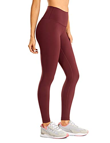 CRZ YOGA Non-See Through Athletic Compression Leggings Hugged Feeling Tummy Control Workout Leggings for Women 28 inches noctilucence red 28'' Small
