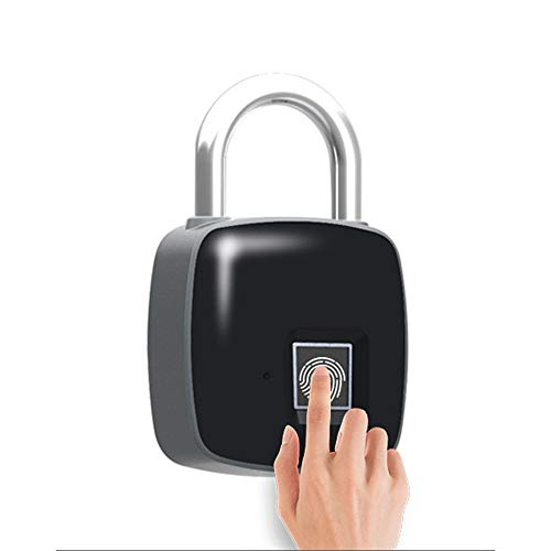 ROGF Smart Lock USB Charge Smart Fingerprint Padlock Biometric Waterproof Lock With Finger Print Security Touch Keyless Lock For family (Color : Black, Size : 4.8x7.5x1.6cm)