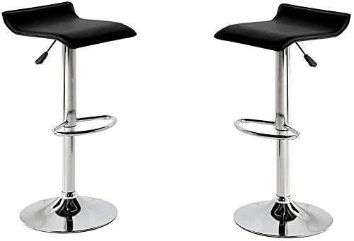 MOMMA HOME Set de 2 Taburetes de Asiento Elevado - Modelo Noa - Color Negro/Plata - Material Ecopiel/Metal Cromado - Medidas 38 x 39,5 x 64 cm