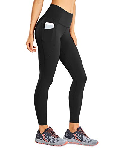 CRZ YOGA Women's Naked Feeling High Waisted Workout Pants 7/8 Yoga Leggings - 25 Inches Black Medium