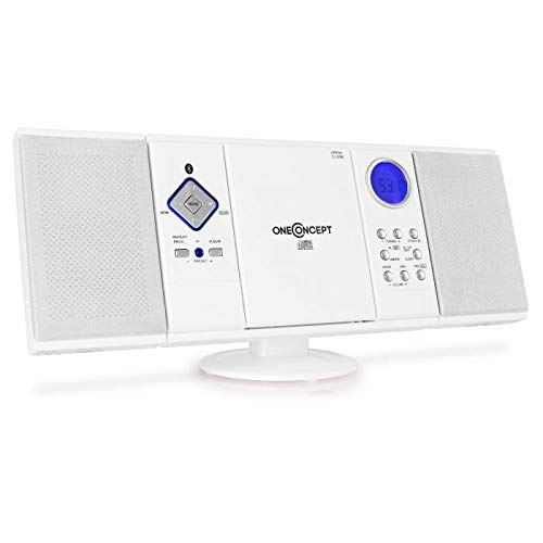 OneConcept V-12-BT White Edition - Chaîne stéréo compacte, Interface Bluetooth, Lecteur CD-MP3, Port USB, Tuner Radio AM/FM, 20 plages...