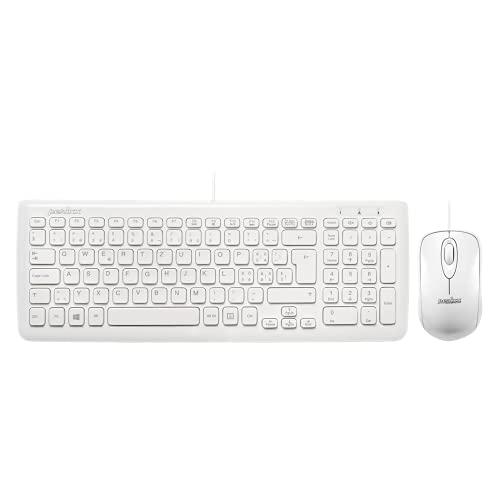 Perixx Periduo-303W - Teclado y ratón compacto plano con chiclet y ratón...