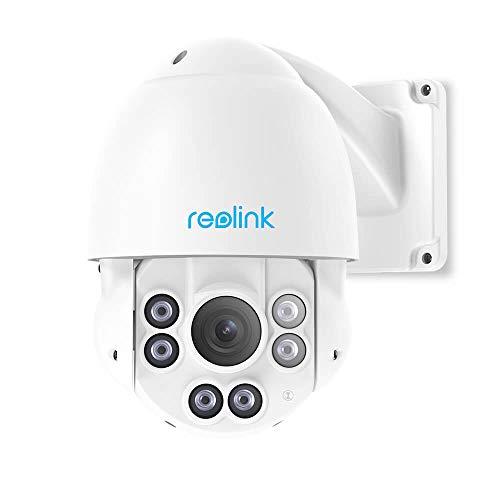 Reolink 5MP PTZ Überwachungskamera Aussen PoE IP Kamera mit 360°/90° Schwenkbar, 4X Optischer Zoom, 58 Meter IR-Nachtsicht, Fernzugriff und IP66 Wasserfest RLC-423-5MP