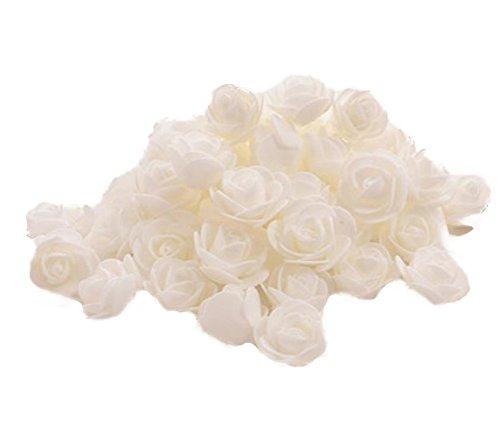 50X Toruiwa Kunstblumen Künstliche Deko Blumen Kleine Blume Mini Rose für Hochzeitsdeko Karten DIY Basteln Haar Bogen Hut Handwerk (Weiß)