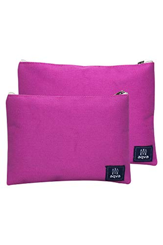 AQVA Pack of 2 Cotton Canvas Multipurpose Cosmetic Organizer Bag With Zipper - Water Resistant Travel Toiletry Pouch, DIY Craft Bag - Perfect for Stationary, Outdoor Activity (Large, Fuchsia)