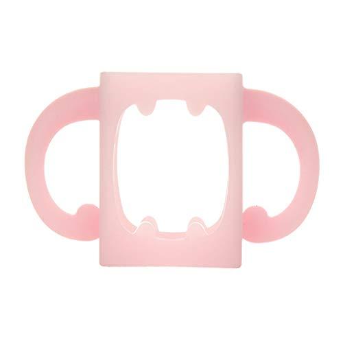 VIccoo Poignée de biberon, Biberon Poignée Universelle Silicone Souple Large Bouche Grip Multicolore Résistant à la Chaleur Biberons Accessoires - Rose