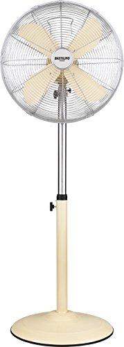 Bastilipo Palma Ventilatore da terra rotondo, 50 W, in acciaio inox, 3 velocità. Vaniglia