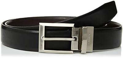 Calvin Klein Men's Smooth Leather Reversible Belt, Black/Brown, 34