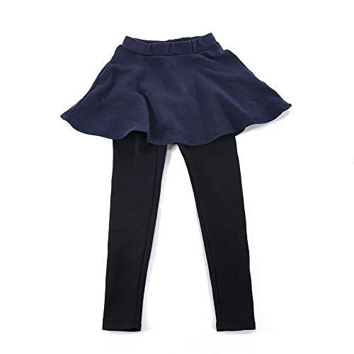 Plus Nao(プラスナオ) 10分丈スカッツ スカート付きレギンスパンツ レギパン フレアスカート ミニスカート 子供服 キッズ 無地 ポケット付 ネイビー 100cm