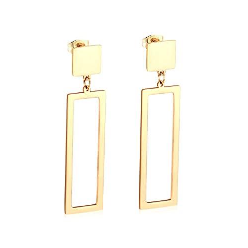 Conjunto de pendientes de joyería de gota de acero inoxidable 316L cuadrados de declaración coreana para mujer, regalo de fiesta, pendientes de oro/acero