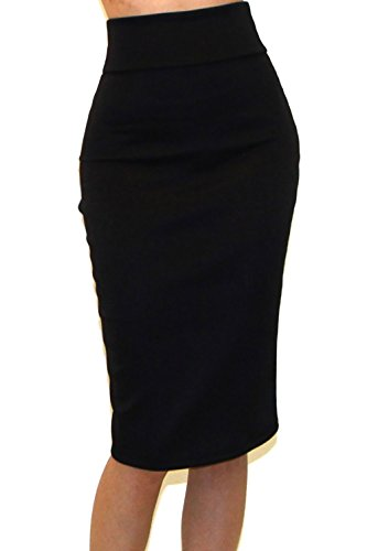 Vivicastle Women's High Waist Band Bodycon Career Office Midi Pencil Skirt (X-Large, SLD Black)
