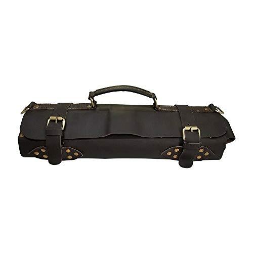 Travel-Friendly Chef Knife Wrap Bag | Genuine Leather Knife Roll | Storage Bag Handles Carry Case Kitchen | travel bag knives holder | KB010