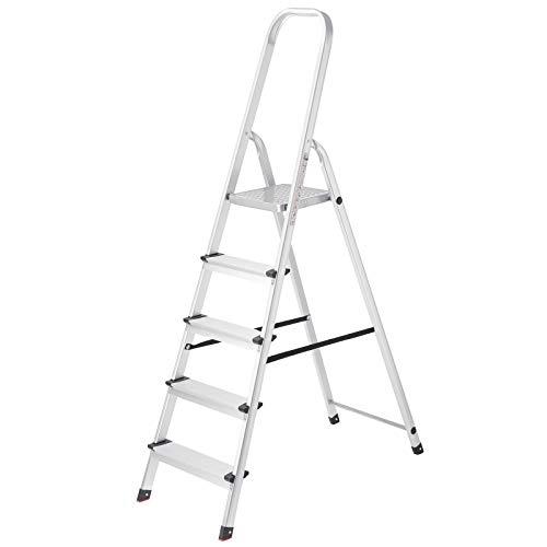 SONGMICS Leiter mit 5 Stufen, Alu-Leiter, rutschfeste Stehleiter, Klappleiter, bis 150 kg belastbar, vom TÜV SÜD nach EN131 geprüft GLT159