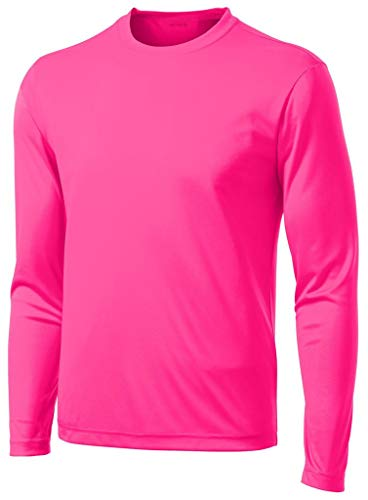 DRI-Equip Long Sleeve Moisture Wicking Athletic Shirt-Small-NeonPink