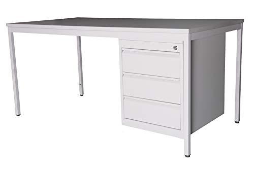 SET Schreibtisch 160x80 cm + Unterbauschrank Professional (3 Schubladen), lichtgrau (Szagato Büro-Möbel Arbeitszimmer Computertisch Schreibtisch Bürotisch Home-Office Büro-Container Schubladenschrank)