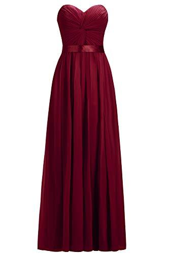 MisShow Abendkleider Weinrot Damen Kleid Lang Elegant Kleid Abendkleid Lang