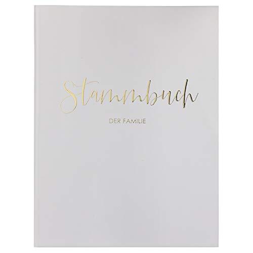 DeinWeddingshop Stammbuch der Familie - Familienstammbuch Hochzeit Standesamt - Deluxe Serie - Hardcover 16x21cm (Weiß/Gold)