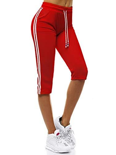 OZONEE Damen Sporthose Kurz Shorts Sweatpants Trainingshose Kurze Hose Bermuda Sportshorts Jogginghose Freizeithose Sweatshorts Damenhose Sport Capri Caprihose JS/1021/D5 ROT XXL