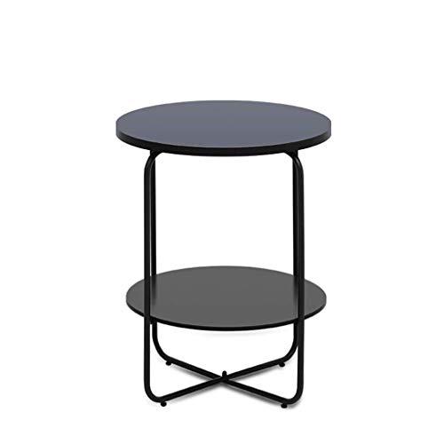 IVQAPP Tea Table Nordic Minimalist Round Multi-Layer Coffee Table Living Room Sofa Table Multi-Function Coffee Table Black Table Small Coffee Table