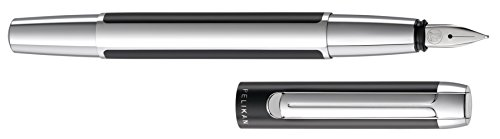 Pelikan 995282 Füllhalter Pura P40, F, schwarz-silber
