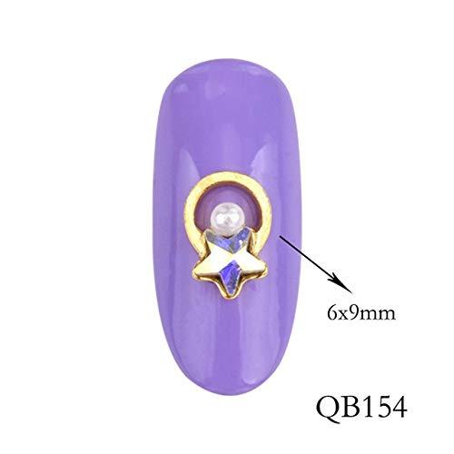 GUANGUA 10 pcs3D Or Alliage Strass Perle Cristal Conception Lune Long Charme DIY Ongles Bijoux, Accessoires de manucure