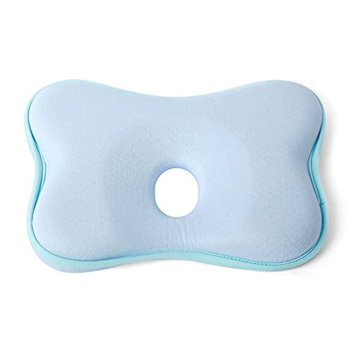 AioTio Almohada para Bebé, Cuña Antireflujo Bebe Cojin para la Prevención de Plagiocefalia y Cabeza Plana en Memory Foam Almohada para Bebé Lavable y Reutilizable(azúl)