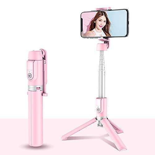 LXLTL Selfie Stick - Trípode de aluminio 3 en 1 extensible con mando a distancia inalámbrico Bluetooth y rotación de 360° mini trípode para iPhone, teléfonos Android, rosa