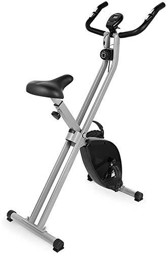 EVOLAND Bicicleta Estática Plegable, Bicicleta Estática de Fitness 8 Niveles de Resistencia Magnética con Monitor Rítmo Cardíaco para Ejercicio Entrenamiento en Casa, MAX hasta 120 kg