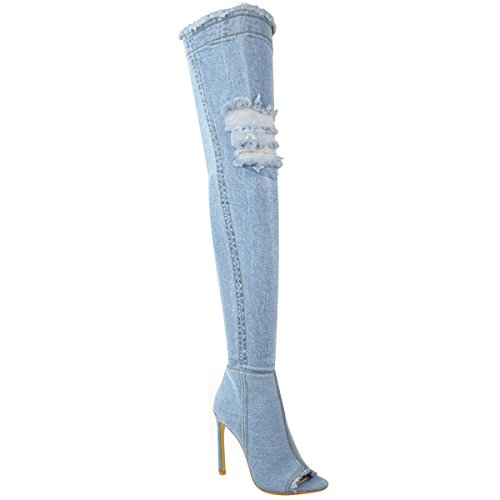 Fashion Thirsty Womens Over The Knee Boots Thigh High Heels Stilettos Stretch Denim Size 9