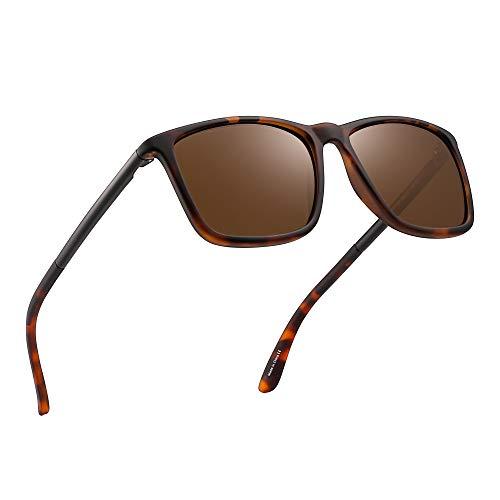 JIM HALO Polarizadas Conducir Gafas de Sol Retro Cuadrado UV Protección Clásico Sol Anteojos Hombre(Carey/Marrón Polarizado)