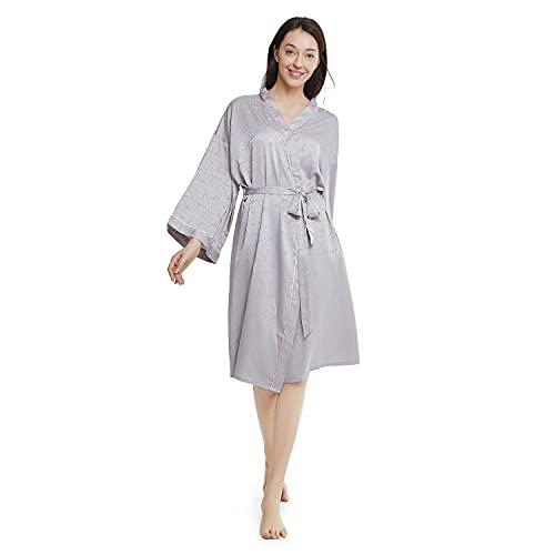 Winthome Morgenmantel Damen Bademantel Satin Sexy Kimono mit Taschen Kurz Robe mit Gürtel Nachthemd für Braut Nachtwäsche mit Eleganter Rosenjacquard (Grau)