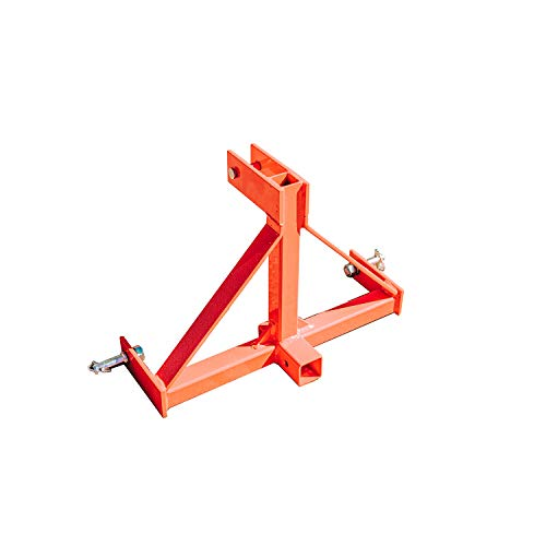 Titan Attachments UA Category 1 3-Pt Orange 2-in Receiver Hitch Made in USA Adapter for Farm Equipment and Standard Trailers