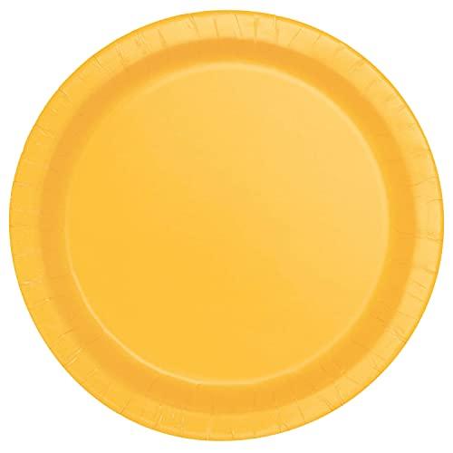 Unique Party- Piatti Ecologici in Carta-18 cm-Colore Giallo-Confezione da 20, Yellow, 31844EU