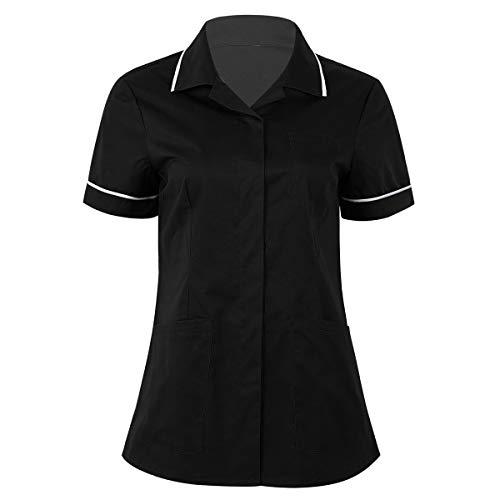 TiaoBug Casaca Sanitaria Mujer Uniforme Doctor Médico Veterinaria Dentista Estética Bata Laboral Farmacia Trarbajo Disfraz Enfermera Mujer Fiesta Negro Medium