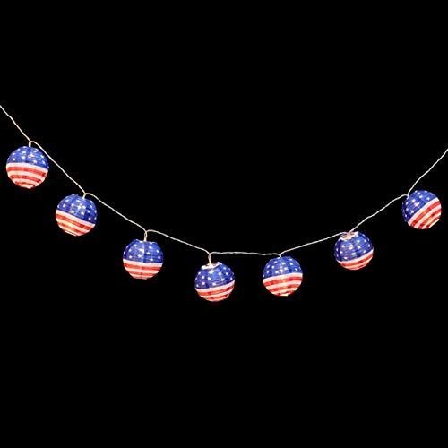 OSALADI LED Laterne String Lichter 64. 9 Zoll Amerikanischen Flagge Laterne Lichter Batterie Betrieben Warme Weiße Lichter Patriotischen Dekorationen für Indoor/Outdoor Unabhängigkeit