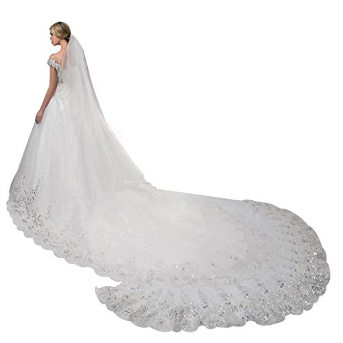 JSFGFSDH 4 x 1,8 m, 1 nivel para mujer, lentejuelas brillantes, encaje floral, joyería festoneada, longitud catedral, tul romántico, velo de novia