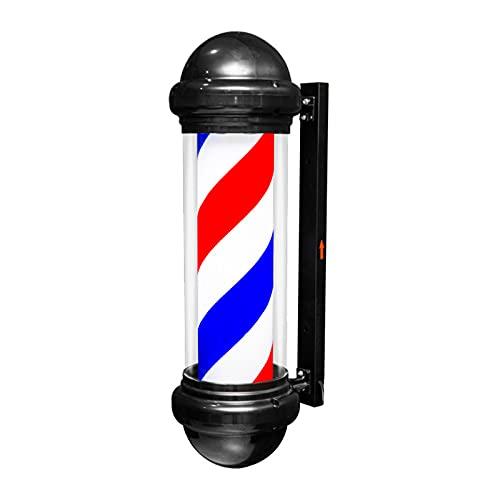 Luz De Poste De Barbero LED De 29.5 '', Peluquería Peluquería Señal Abierta, Tiras LED Giratorias Rojas Blancas Azules De 15W, Montado En La Pared Al Aire Libre