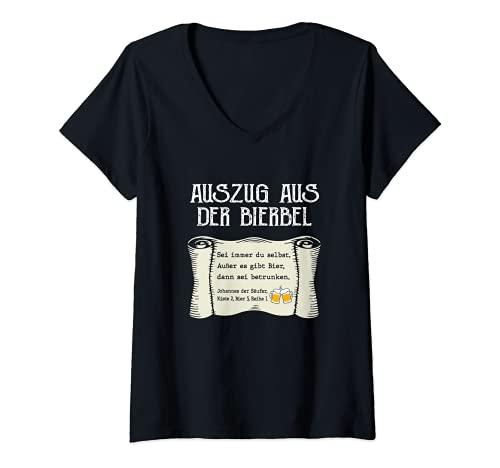 Damen Lustiger Bier Spruch Auszug Bierbel Johannes Bibel Geschenk T-Shirt mit V-Ausschnitt