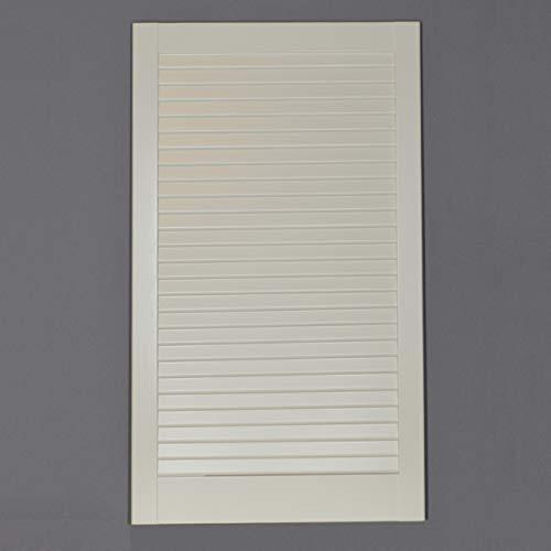 Lamellentür Kiefer weiss lackiert mit geschlossenen Lamellen 71,7 cm x 39,4 cm in 21 mm Stärke - Staubdicht, Lichtdicht - weiße Lamellentüren als Schranktür, Möbeltür oder Regaltür